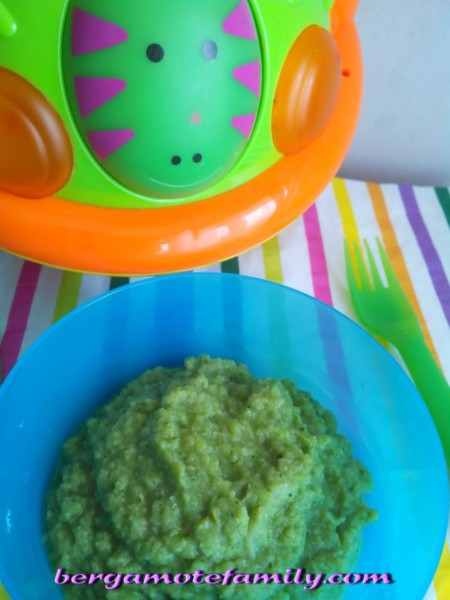 purée de brocoli, haricot beurre à la dinde