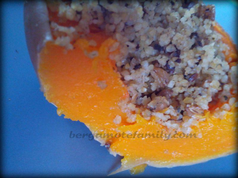 courge butternut farcie aux céréales et mimolette