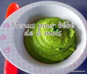 menus pour bébé 6 mois - bergamote family